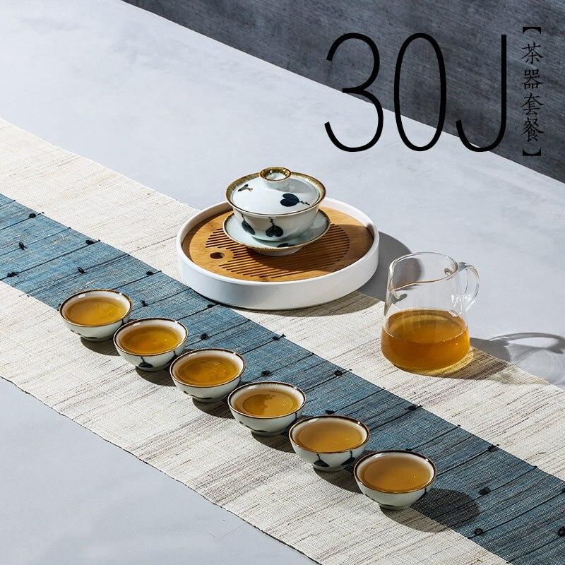 Ensemble de thé en céramique fait main chinois plateau de thé théière Kung fu ensemble de thé gaiwan petit bol à thé en porcelaine peinte Style japonais
