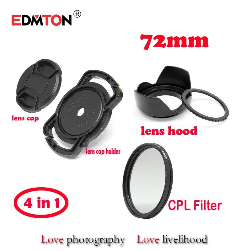72mm Circular Polarizer Polarizing CPL Filter + lens cap + lens hood + lens cap holder kit for 18-200 28-135 24-85 mm DSLR lens