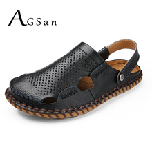 AGSan Handmade Men Sandals Summer Breathable Casual Sandals Shoes Genuine Leather Beach Shoes Large Size 38-45 Mens Slippers