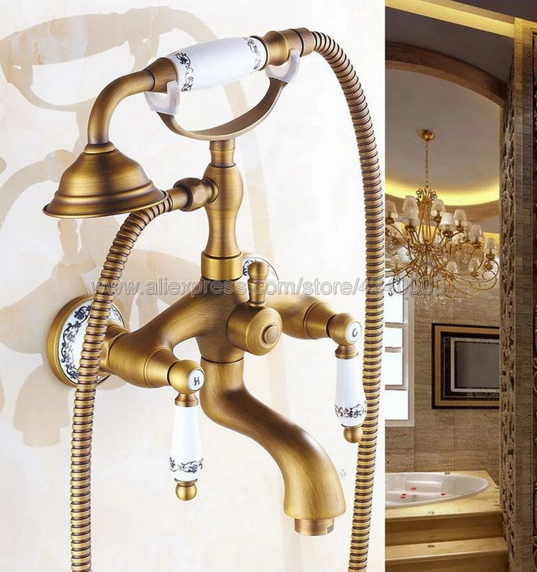 Antique Brass Ceramic Handles Bathtub Faucets Bathroom Basin Mixer Tap With Hand Shower Head Bath & Shower Faucet Ktf310Antique Brass Ceramic Handles Bathtub Faucets Bathroom Basin Mixer Tap With Hand Shower Head Bath & Shower Faucet Ktf310