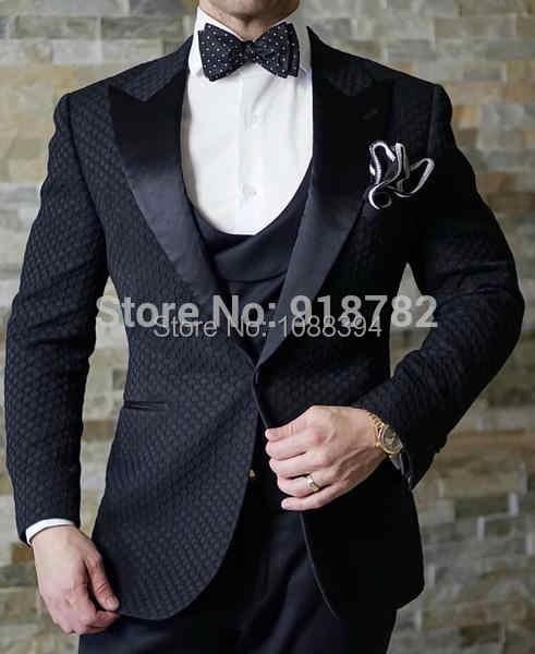 2018 オーダーメイドフォーマル 3 ピースビジネス男性スーツ Terno スリムフィット白のチェック柄ウエディング新郎ブレザータキシードのための男性の結婚式のスーツ