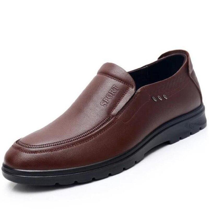 Homens Mais Couro 2018 black deslizamento Novo Sneakers Brown Casuais Confortáveis De Rendas Sapatos Não Outono 002 Simples 002 Macio Rasos Genuien Sapatilhas 001 brown zvqrvRd