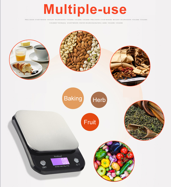 Digital Kitchen Food Scale 10Kg/1g stainless steel weighing Postal Electronic Scales Measuring tools weight Balance 1