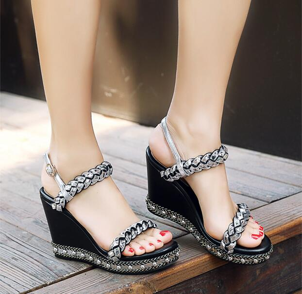 Top selling women shoes wedges platform sandals open-toe gold silver shoes concise design rivet shoes shiny party sandals women phyanic 2017 gladiator sandals gold silver shoes woman summer platform wedges glitters creepers casual women shoes phy3323