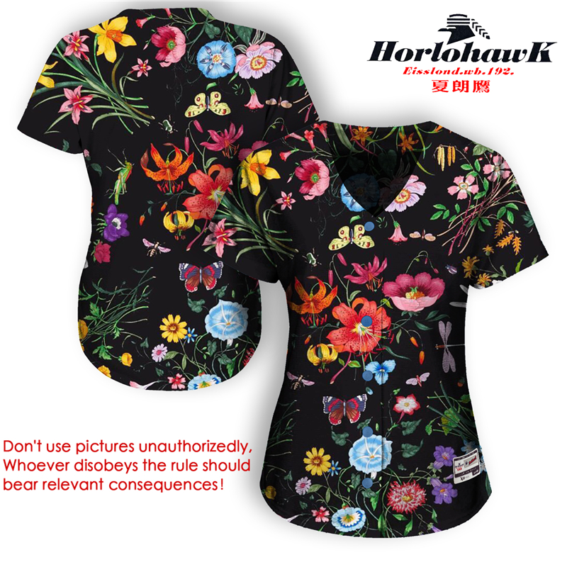 Horlohawk 2017 New Baseball Jersey US Size Women's High Quality Print Floral Flowers Sports Black Jersey