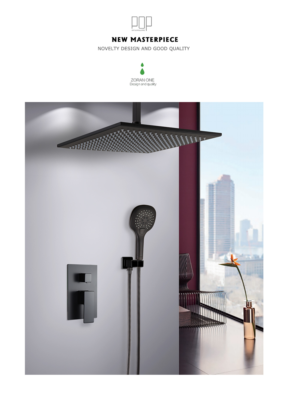 Pop Bathroom Luxury Rain Mixer Shower Combo Set Ceiling