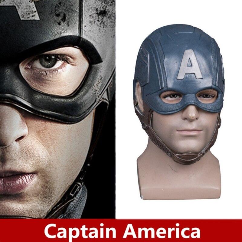 Anime Movie The Avengers Captain America Cosplay Mask Steven Rogers Helmet Soft Latex Mask Kids Adult Cosplay Halloween Props