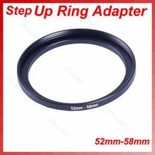 1 adet Metal 52mm 58mm Step Up filtre Lens halka adaptörü 52 58mm 52 58 step