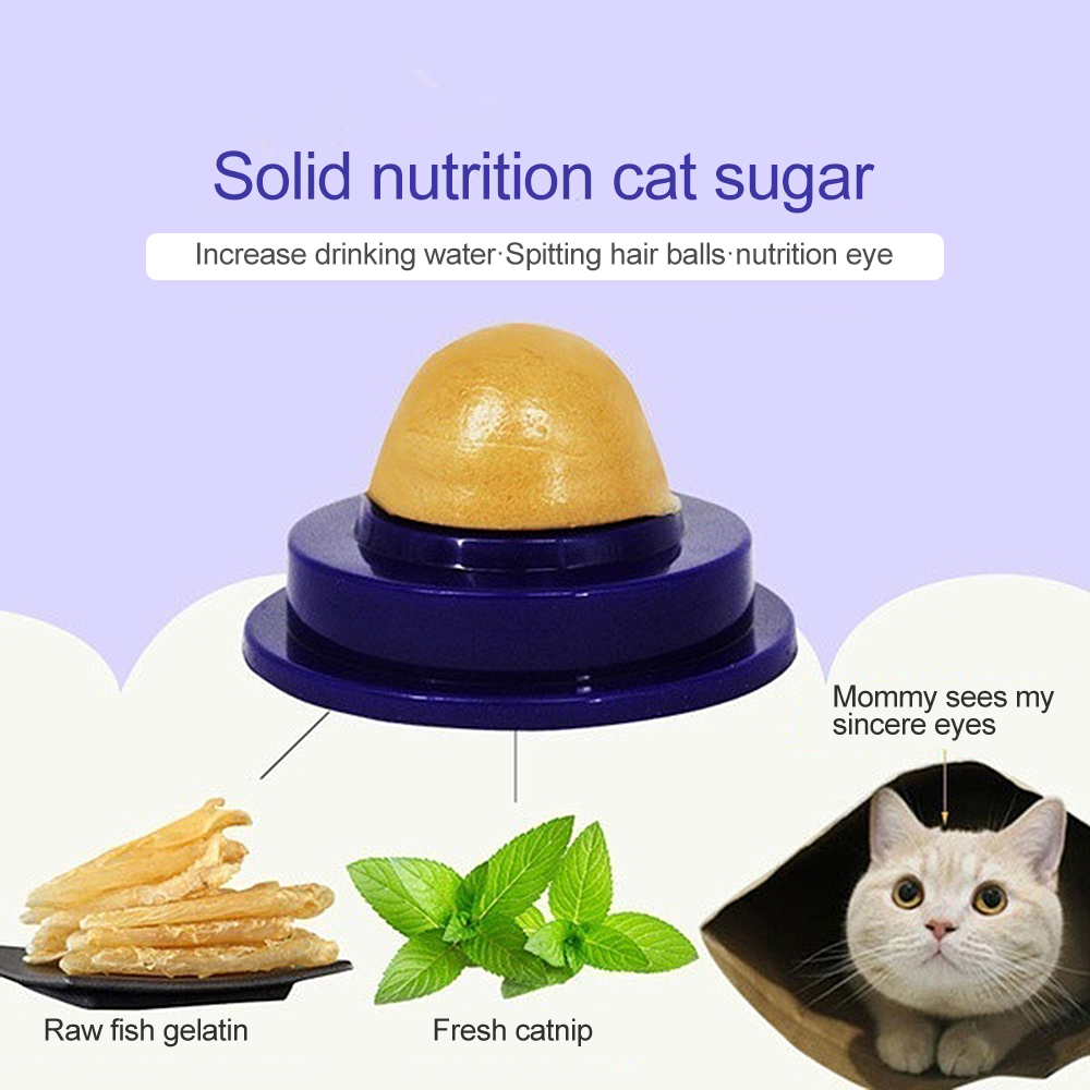 New 2Pcs Cat Snacks Catnip Sugar Candy Licking Solid Nutrition Cream Gel  Energy Ball Toys for
