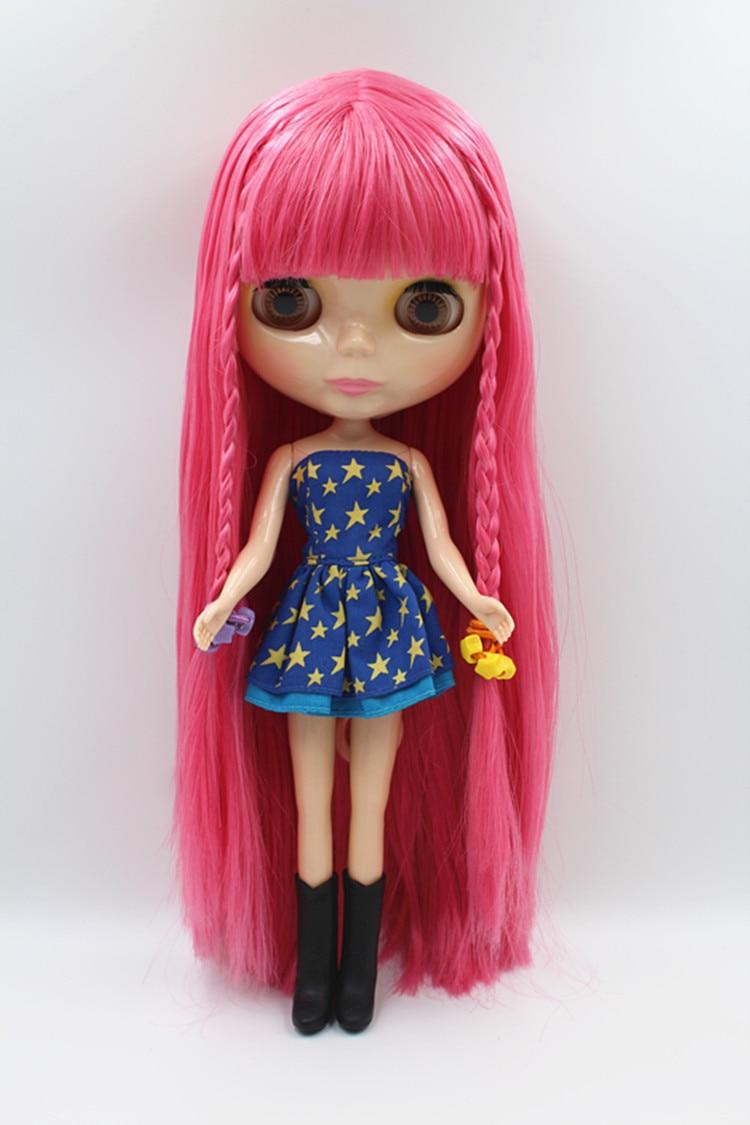 Blyth docka rosa Liu Hai rakt hår Blygirl docka 30cm vanliga kroppskarv 7