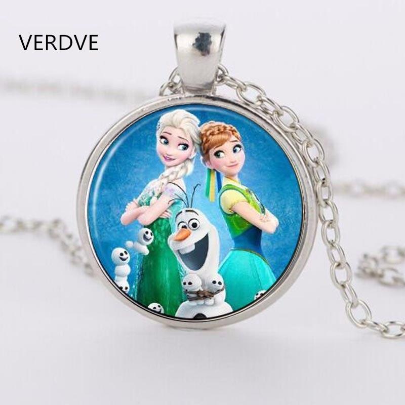 Эльза Анна Олаф fever кулон ожерелья с героями мультфильмов девушка ювелирные изделия Круглый цепочки и ожерелья для женщин подарок для девочек детей серебрян