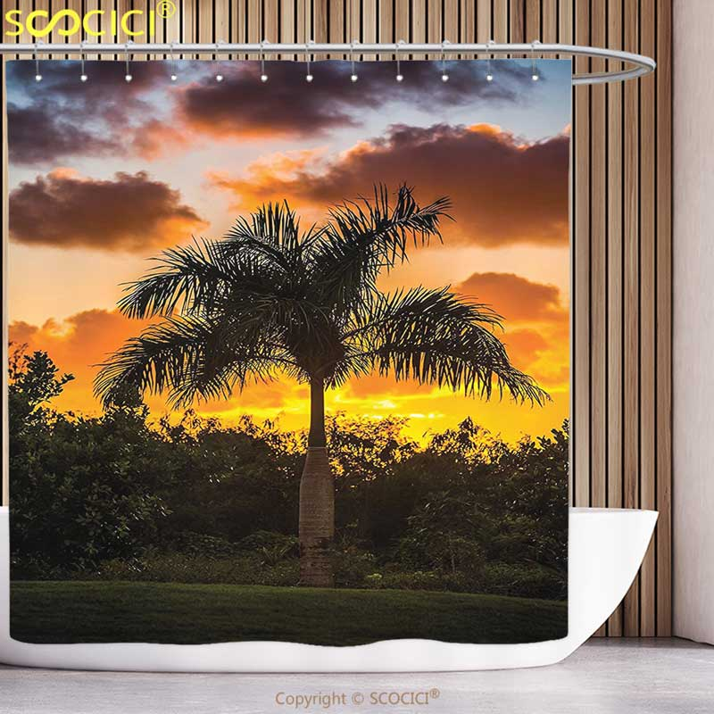 Cool Shower Curtain Palm Tree Decor Palm Tree Silhouette Scene at Sunset Twilight Tranquility in Nature Image Orange Green