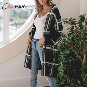 Image 2 - Conmoto Women Sweaters Cardigan Fashion Black Plaid Long Sleeves Sweater Casual High Street Knitted Jacket Female Chic Long Coat