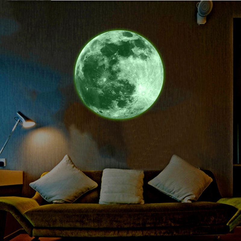 30cm Light Luminous Stickers Home Room Decoration Luminous Moon Wall Stickers Glow In The Dark Mural Art Wallpaper for Kids Room