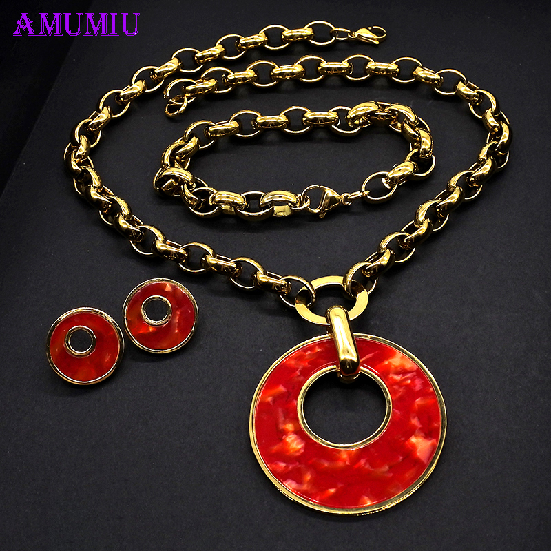 AMUMIU Wedding Jewelry Sets for Charm African Women Gold Red Round Necklace Bracelet Earrings Chain Party Gift JS165