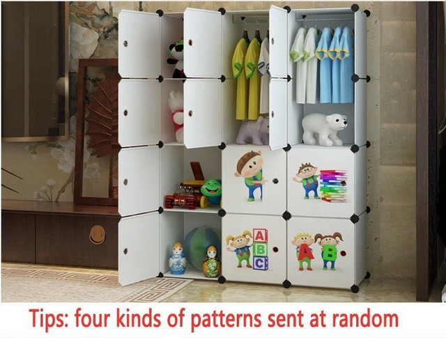 Child Portable Wardrobe Triple Home Folding Kids Toy Storage Closet Cabinet Baby Furniture