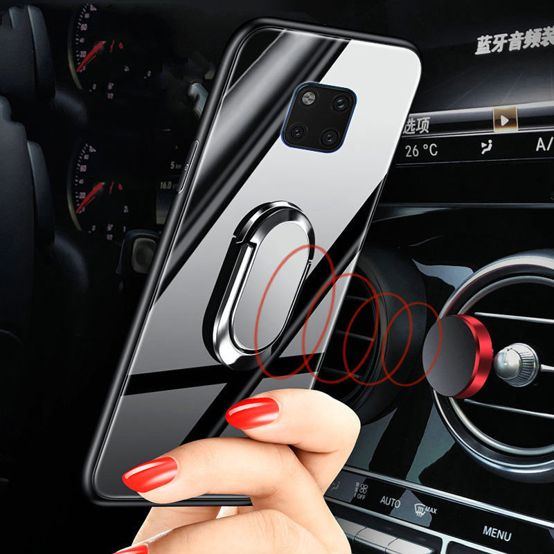 Tempered Glass Case For Huawei Mate 20X magnet car holder Back Cover Soft Phone Cases For Huawei Mate 20 Mate20 mate 20 pro lite in Fitted Cases from Cellphones Telecommunications