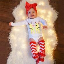 VTOM 3 Pcs Newborn Infant Baby Girls Chrismas Sets  Girl Rompers+Headband+ Leg Warmer Jumpsuit Xmas Clothes Set