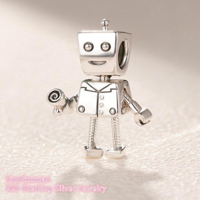 ab6093bc9 2019 Valentine's Day Original 100% 925 Sterling Silver RoBot Charm beads  Fit Pandora Charms Bracelet DIY jewelry