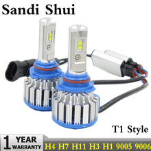 Car Headlight H7 H4 LED H8 H11 HB3 9005 HB4 9006 H1 H3 9012 H13 9004 9007 70W 7000lm Auto Bulb Headlamp 6000K Light T1 Style(China)