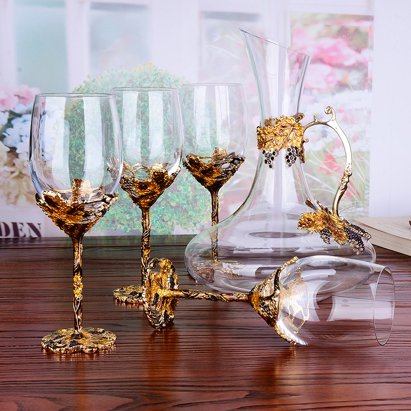 2480931033ab European enamel red wine glass cup Gold Retro goblet Lead-free crystal cups  champagne glasses