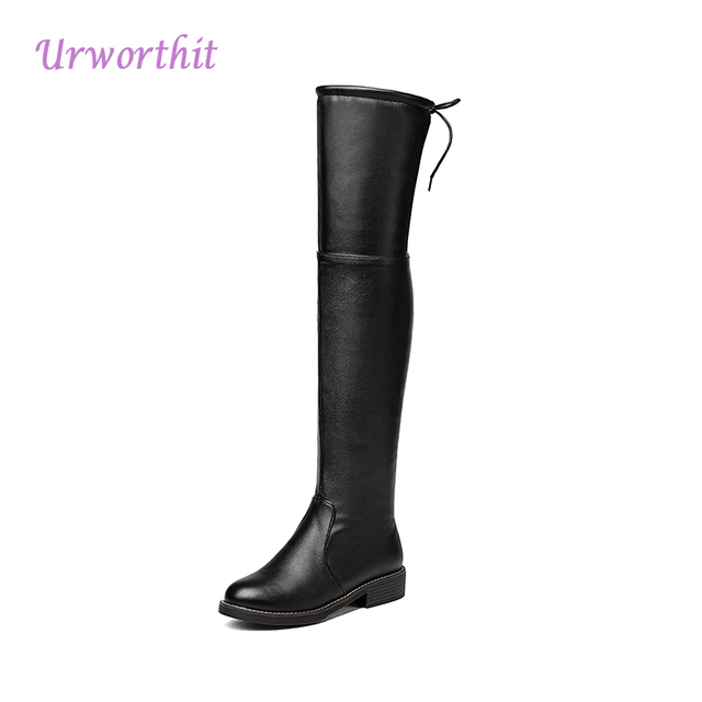 caf82751849 US $36.65 |2018 Winter Women Fashion Leather Over Knee High Boots Warm Fur  Thigh High Felt Boots Tall Black Flat Boots Plus Size Snow Shoes-in ...