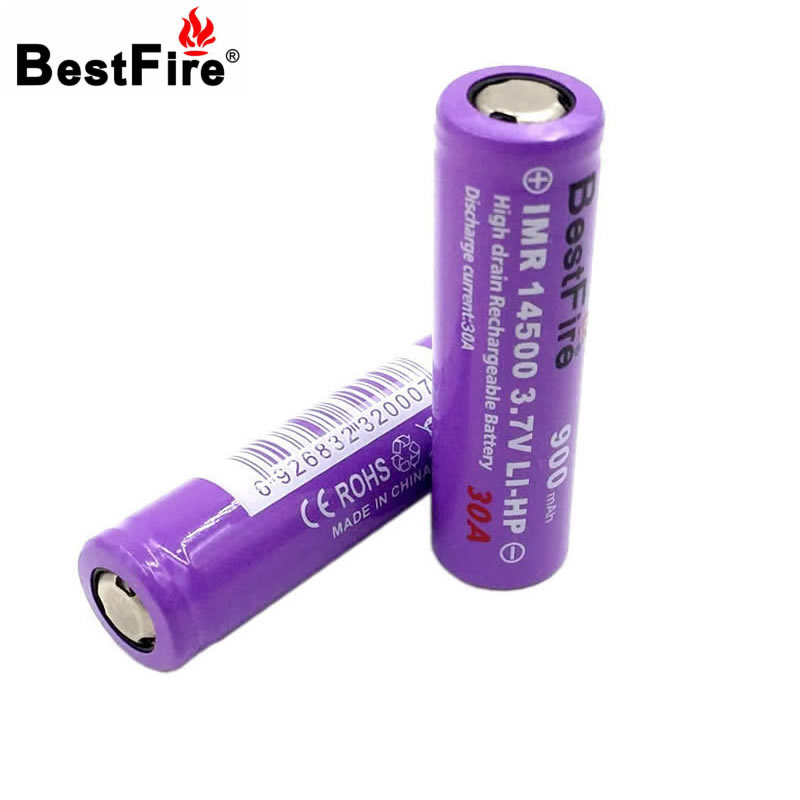 Bestfire 14500 Battery 3.7V 900mAh 30A Rechargeable Li-ion Battery for E Cigarette Flash ...