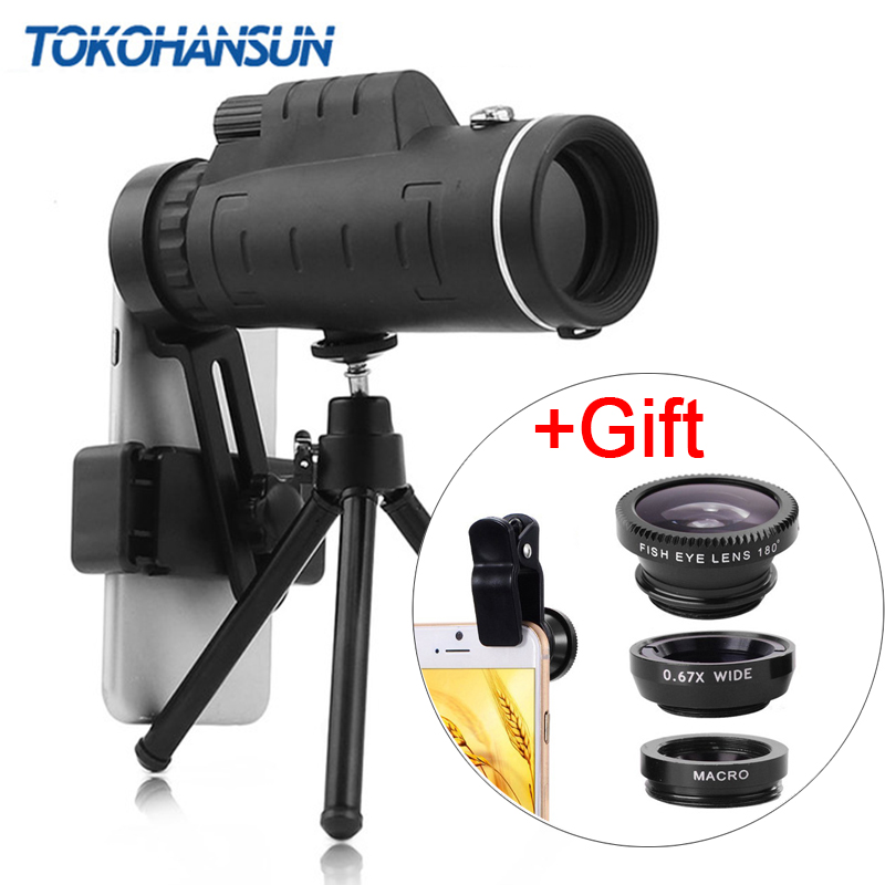TOKOHANSUN 40X Telephoto Zoom Phone Lens Telescope 40x60 Lenses with Tripod for IPhone + Fisheye Wide Angle Macro 3In1 Lens title=