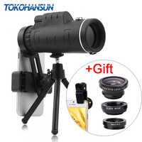 TOKOHANSUN 40X Telephoto Zoom teléfono lente telescopio 40x60 lentes con trípode para IPhone + Fisheye gran angular Macro 3In1 lente