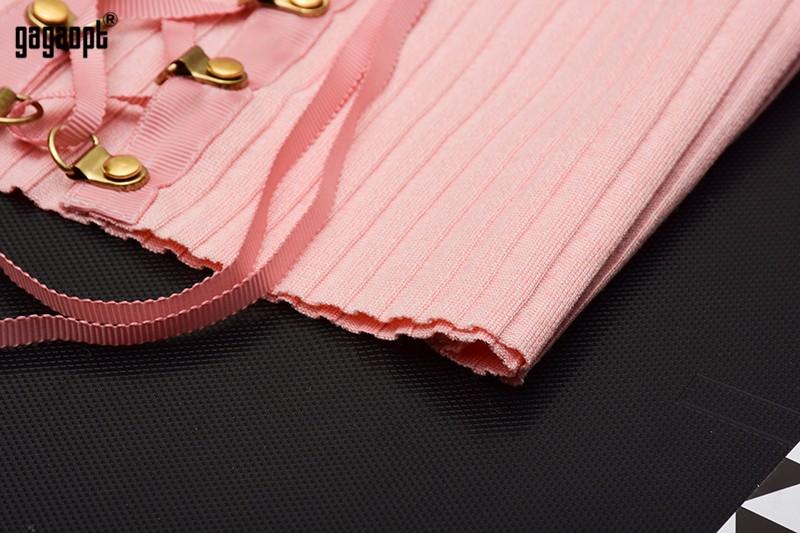 HTB1IGaxOpXXXXbxXpXXq6xXFXXXY - Sexy Black Crop Top Lace Up Tee shirt Metal Ropes Women