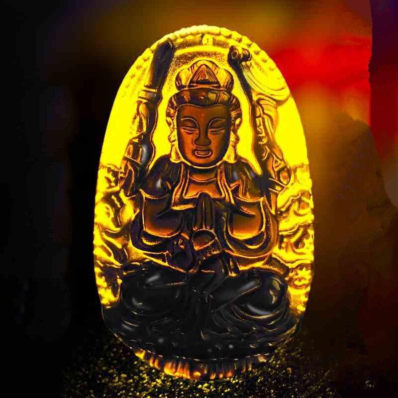 Բնական Բուդդա Սև Օբսիդիան Բուդդայի - Նուրբ զարդեր - Լուսանկար 1