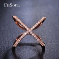 CHSOUL Rose Gold Plated Ring Bijoux Thin Criss Cross X Rings For Women Trendy Party Accessories Sizes 5.5 6.5 8 9