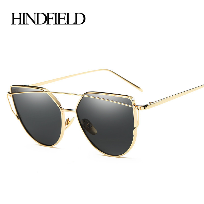 HINDFIELD Fashion Cat Eye Sunglasses Women Designer Brand Twin-Beams Sunglasses Coating Mirror Glasses oculos de sol feminino