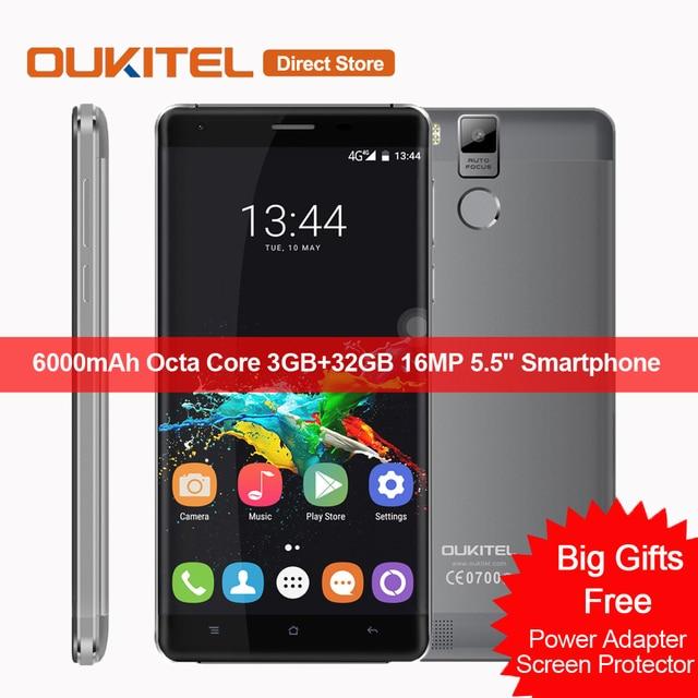 "6000mAh OUKITEL K6000 Pro 4G LTE Smartphone Android 6.0 MTK6753 Octa Core 3GB+32GB 16MP 5.5"" 1920*1080 Fingerprint Mobile Phone"