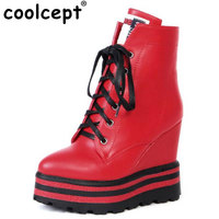 Coolcept Women Wedge Cross Lace Up Platform High Heels Thick Fur For Winter Boots Fashion Warm