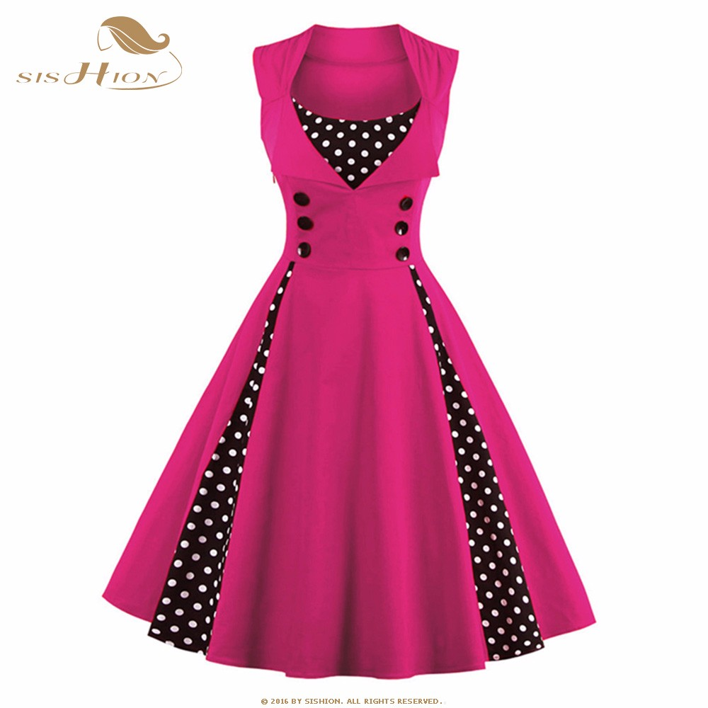US $22.62 10% OFF|SISHION S 5XL Plus Size Vintage Dress 50s 60s Hepburn Pin  Up Big Swing Retro Rockabilly Dresses Red Blue Tunic Vestidos VD0424P-in ...