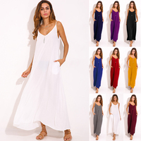 2016 New Summer Vestidos Women Dress Boho Strapless V Neck Sleeveless Baggy Long Maxi Dresses Sexy