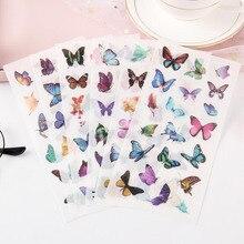 6 шт./упаковка ПВХ, прозрачные наклейки с красивыми бабочками, тонкие наклейки для украшения детской спальни