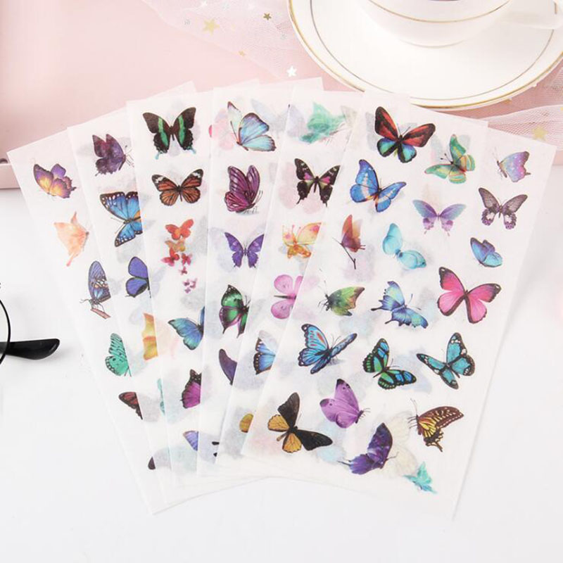 6 Pieces / Package PVC Transparent Stickers Beautiful Butterfly Decoration Album Thin Children'S Bedroom Decoration Stickers
