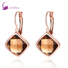 hot deal buy 2016 trendy earrings brown topaz rose gold plated clip earrings fashion jewelry for women e2026