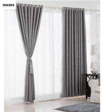 VESCOVO European Solid Full Blackout Burlap Curtains
