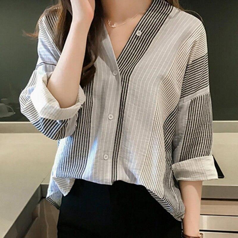 Women Fashion Striped   Blouse     Shirt   Women Spring Autumn Long Sleeve V-Neck   Blouses   Female Korean Style Casual Loose   Blouses   Tops