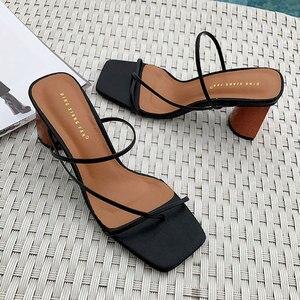 Image 4 - GENSHUO Women Vintage Square Toe Narrow Band High Heel Sandals Women Summer Shoes Women Round Wood Heel Slide Slipper Sandals
