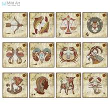 Vintage Retro Zodiac Set Birthday Gift A4 Large Art Prints Poster Shabby Chic Wall Pictures Canvas Painting Customd Home Decor(China)