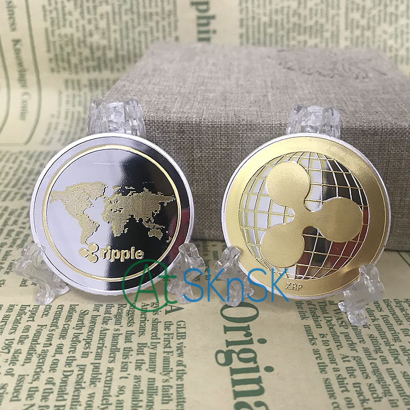 Best buy ) }}5pcs New year gift commemorative coins XRP Ripple crypto currency gold and silver