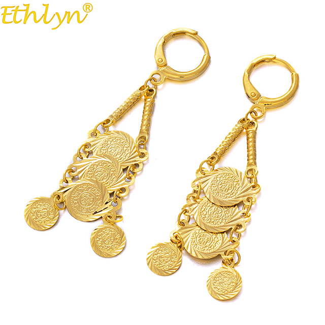 Ethlyn Jewelry Gold Color Coin Dangle Earrings Middle East Women Coins Whole Round Drop