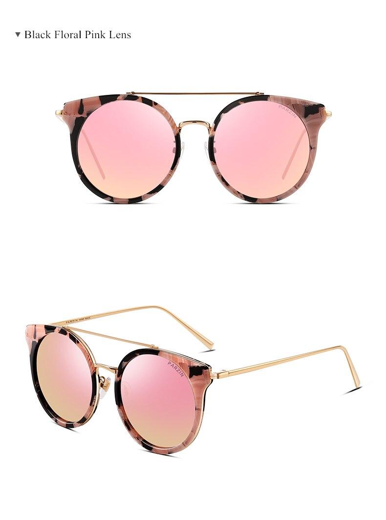 b13417486c10a PARZIN العلامة التجارية ريترو جولة الإطار مزدوجة شعاع الاستقطاب النظارات  الشمسية المرأة الأزياء الملونة نظارات الأنثى القيادة Glasses9666