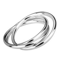 Free Shipping 25 Sterling Silver Fashion Jewelry Three Ring Bracelet 925 Silver Bangle Wholesale Jewelry SZ072