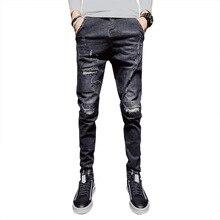 Hip Hop Mens Skinny Jeans Pants Mens Jeans Brand Slim Fit Denim Pants Men Elasticity Solid Pencil Jeans Black for Men