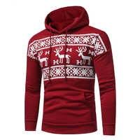 Мужской пуловер с капюшоном и изображением лося, женский модный Рождественский пуловер с принтом снеговика, зимний свитер, мужской черный с...